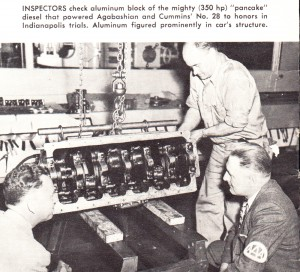 Inspectors check aluminum block of racecar in 1953