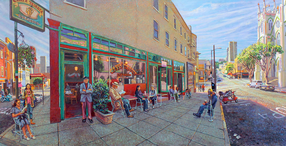 Painting of people seated at sidewalk tables outside a cafe