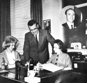 Don Murray, Dapite manager, shows samples of drugs packaged at Dapite to Virginia Young (right) and her assistant, Paula Haug in 1964