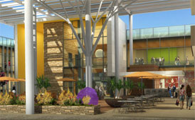 Computer rendering of what the future medical office building. It has the building in the background, a soaring covered garden and patio area with outside lunch tables