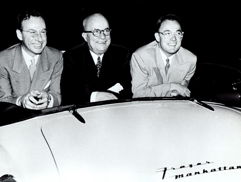 Edgar Kaiser, Henry J. Kaiser, Henry Kaiser Jr. at New York City debut of Frazer Manhattan convertible, 10/15/1951.