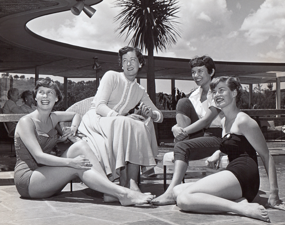 Ale Kaiser with KFSN students at poolside party at Lafayette residence, circa 1953.