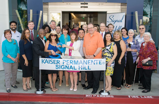 Cutting the ribbon to mark the opening at the new Kaiser Permanente Southern California Signal Hill Medical Offices, June 2016.