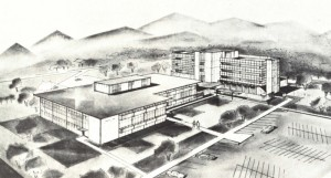 Architecural drawing of planned Hayward Hosplital