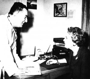 Dr. Rino Bulgarelli, physician-in-charge at Pittsburg, has a warm working alliance with Lenore Crane, clinic administrator. KP Reporter, 1962