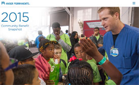 The cover of the 2015 Kaiser Permanente Community Benefit Snapshot features a group of kids listening at a total health event