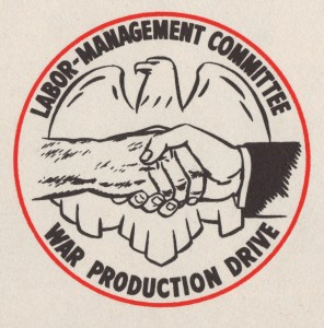 Logo (scan from production idea award certificate), Labor-Management Committee, War Production Drive, 1944