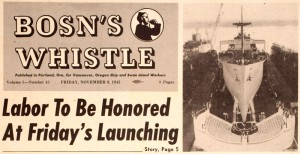 1945 newspaper cliping from the Bosn's Whistle with headline 'Labor To Be Honored At Friday's Launching.  Includes an image of a ship.