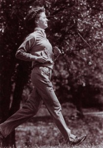 Shirley Craddick, RD, trains to carry the Olympic torch in 1984.