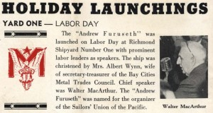 Announcement of launching of the SS Furuseth, Fore 'n' Aft, 1942-09-17, RMH