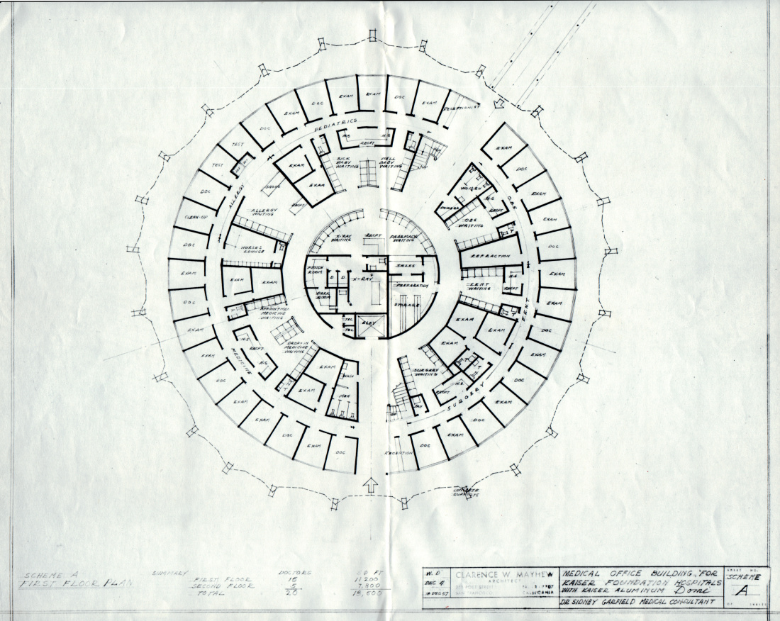 Architectural diagram of a circular medical office complex