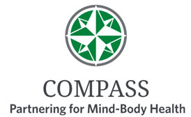 Logo for COMPASS (Care of Mental, Physical and Substance-use Syndromes) which has a symbol for a map compass in a circle above the words.