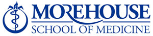 Logo for Morehouse School of Medicine has a stylized symbol of medicine (snake around pole) to the left and text to the right