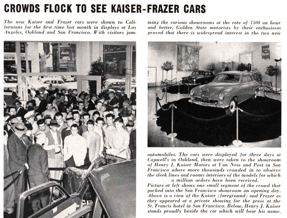 Article on new Kaiser Frazer cars, Fore 'n' Aft, 1946-08-00, RMH