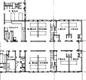 Detail of floor plan, Southern Permanente hospital at Fontana, February 1943