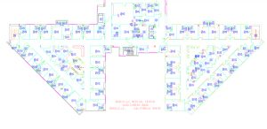 Detail, floorplan of Kaiser Permanente Roseville Medical Center, 1995