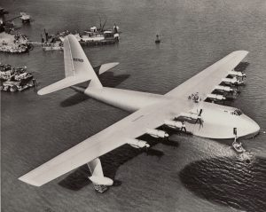 Aerial photo of Spruce Goose (H-4, Hercules Flying Boat), Long Beach, 1947.