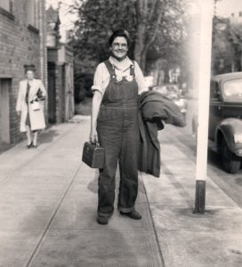 Ruby Bingham, worker at Kaiser shipyard, in her overalls, pictured in 1943.