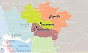 Kaiser Permanente Greater Sacramento service map.
