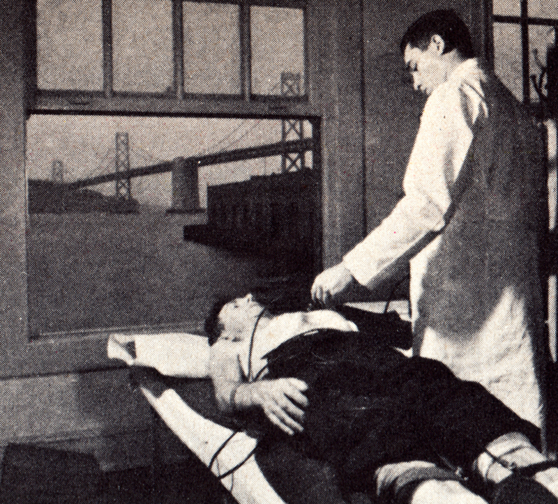 """This local 10 longshoreman is having an electrocardiograph taken to detect any heart irregularity. This is one of the many tests in the recent program conducted for the ILWU by Permanente."" Planning for Health, Fall, 1951."