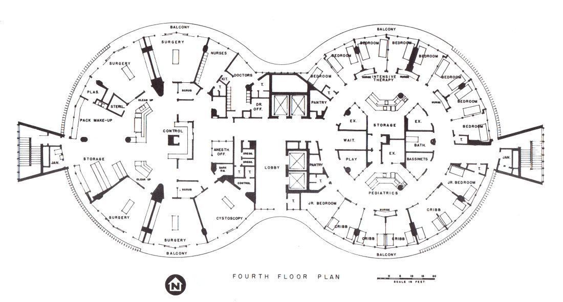 blueprint of the fourth floor plan of the Kaiser Foundation Hospital at Panorama City