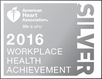 Silver award badge for American Heart Association award badge for companies, workplace health achievement