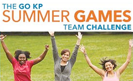The GoKP Summer Games Team Challenge text treatment at the top, below are three women in workout clothes in a park jumping up with arms upraised