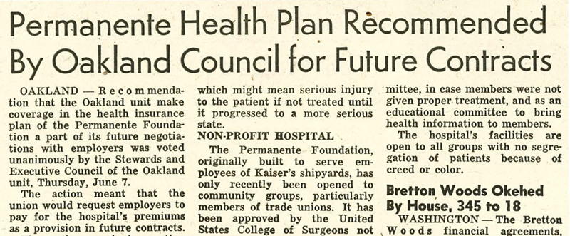 """Permanente Health Plan Recommended by Oakland Council for Future Contracts,"" ILWU Dispatcher, 6/15/1945."