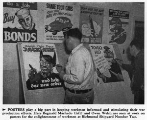 1942 newspaper clipping of man with photo of man painting promotional posters.
