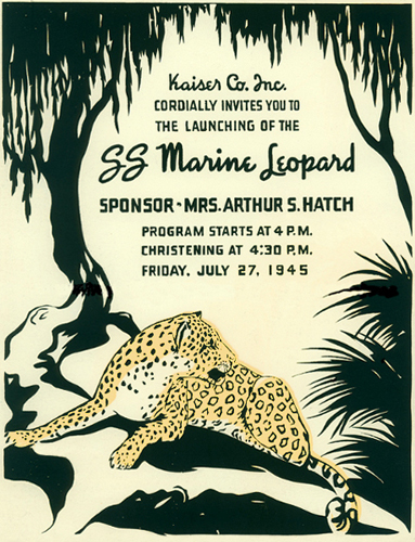 1945 launch program cover for SS Marine Leopard with an illustration of a leopard sitting under a tree.