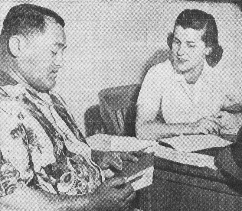 """Anne Waybur of the ILWU Research Department interviewed more than 125 longshoremen, clerks, foremen and their wives in San Pedro, Calif. to find out what they think of the Permanente Health Plan coverage and service."" The Dispatcher, 1/5/1951."