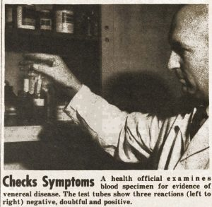 1944 newspaper clipping with image of doctor performing a blood test.