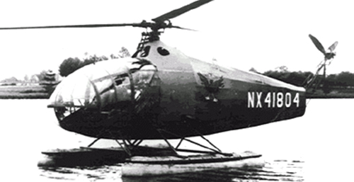 Vought-Sikorsky VS-300, 1941. When mounted with floats it was the first practical amphibious helicopter.