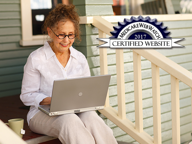 Older woman on porch steps with computer, with logo of Medicare WebWatch attached