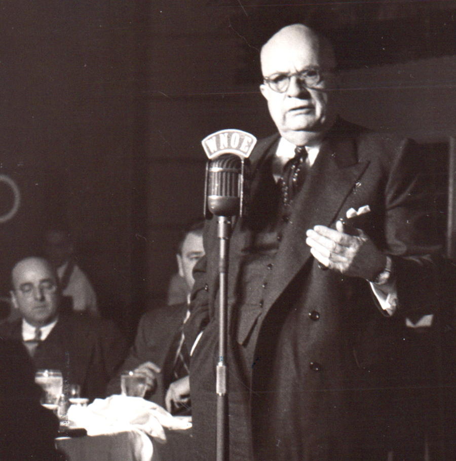 Henry J. Kaiser speaking in New Orleans, 1957.