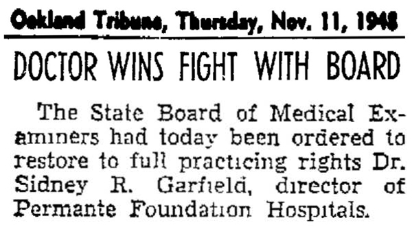 Dr. Garfield wins fight with medical board, 11/11/1948.