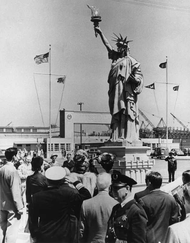Small scale Statue of Liberty at Richmond shipyard #2, at launching of the last Liberty ship built on the Pacific coast, the SS Benjamin Warner