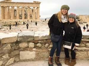 Jessica Minor with her sister, Sally Finkel, in Greece.