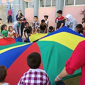 Children play in a Syrian refugee camp in Turkey.
