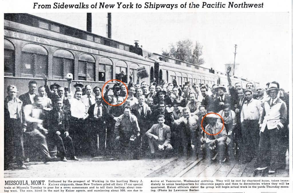 1942 newspaper clipping with image of Kaiser shipyard worker hires from New York en route to Portland