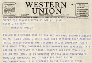 1942 Telegram from the president of the American Federation of Labor's Metal Trades Department about labor issue involving black workers in Portland yards.