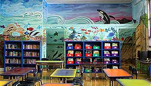 Ocean wall mural in the new Barrett Elementary School library.
