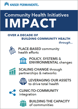 Infographic highlighting Kaiser Permanente's community health initiatives.