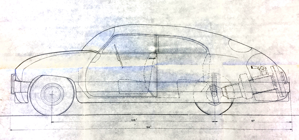 Drawing of rear-engine lightweight passenger car