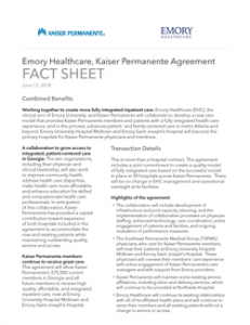 Thumbnail image of first page of KP - Emory Healthcare agreement facts