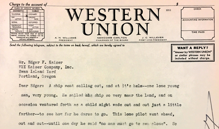 A Western Union telegram from Henry J. Kaiser to his son, Edgar.