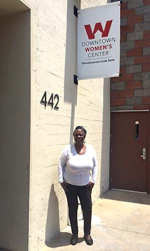 Denise Smith outside the Downtown Women's Center