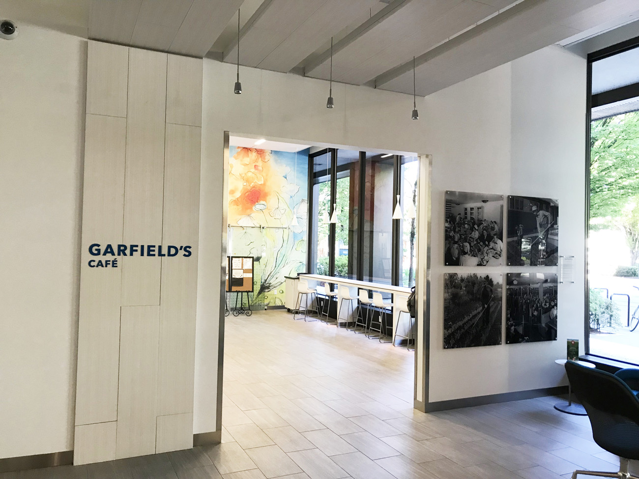 Entrance to Garfield's Cafe inside Kaiser Permanente's Portland offices.