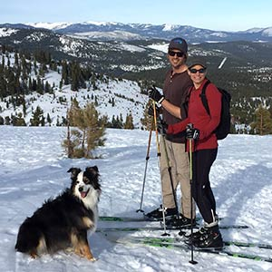 Diana Miglioretti and her husband Jason and their dog Kindred backcountry skiing in Truckee.