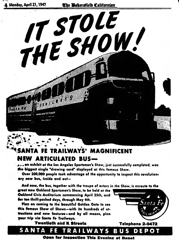 Ad from the Bakersfield Californian touting bus at Sportsmen's Show, April 21, 1947